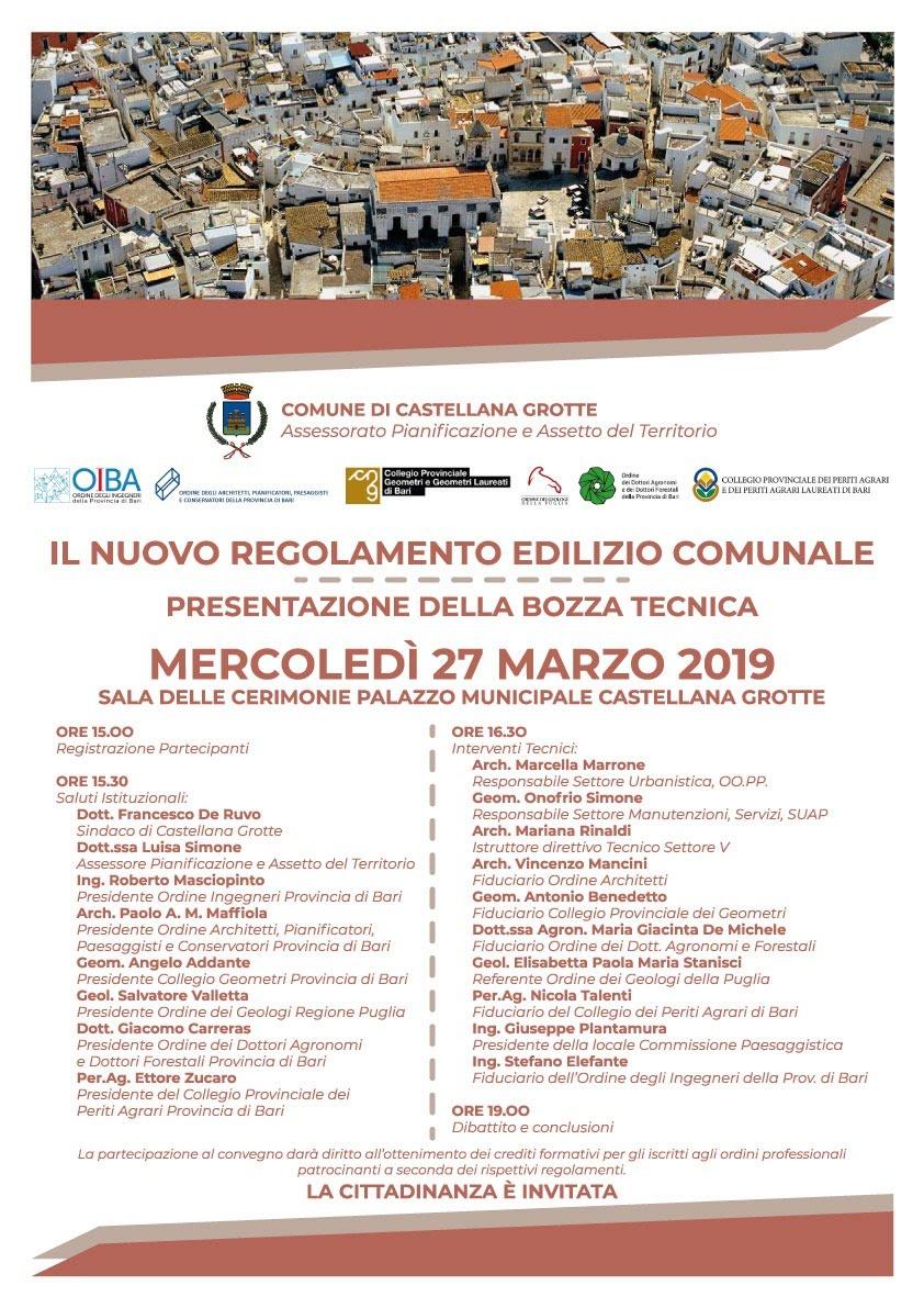 Convegno Nuovo Regolamento Edilizio Comunale_Castellana Grotte 27 marzo 2019