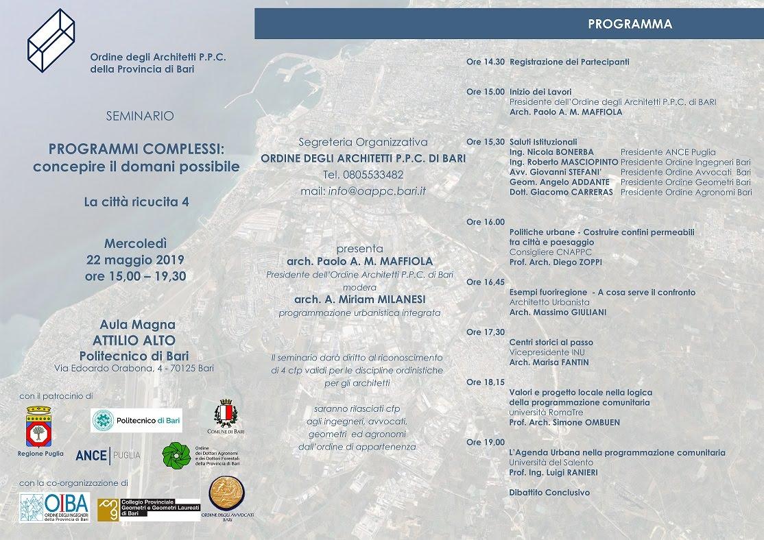 LA CITTÀ RICUCITA 4 -PROGRAMMI COMPLESSI: CONCEPIRE IL DOMANI POSSIBILE_Bari 22 maggio 2019
