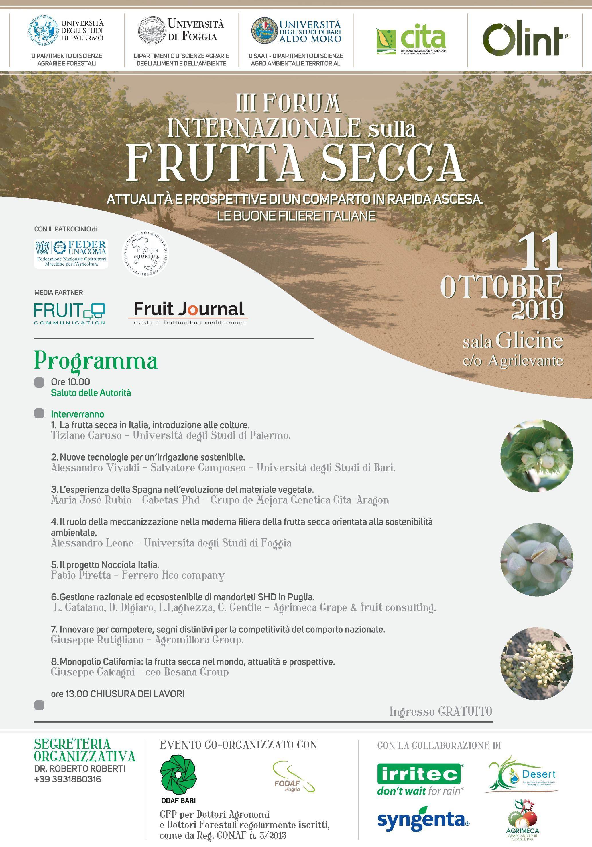 Forum internazionale sulla frutta secca_Bari 11 ottobre