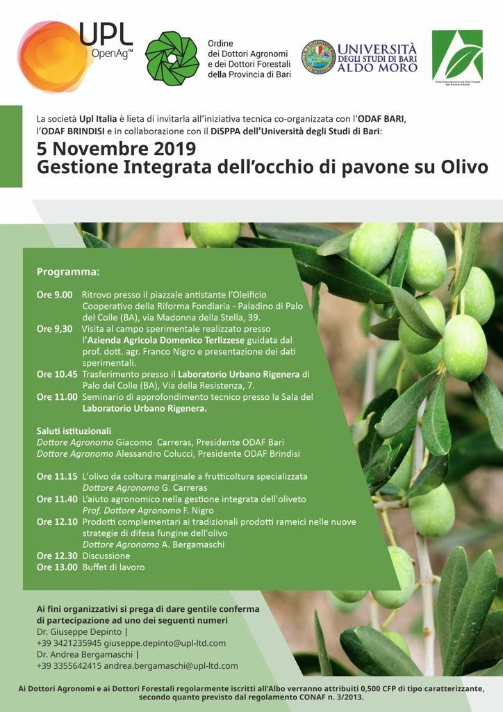 Giornata tecnica: gestione integrata dell'occhio di pavone su olivo_Palo del Colle 5 novembre