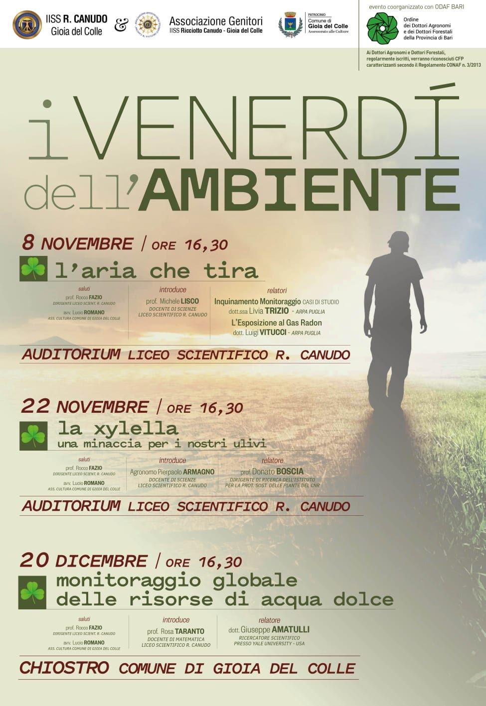 Ciclo di seminari - I venerdì dell'ambiente - Gioia del Colle 8-22 novembre e 20 dicembre pv
